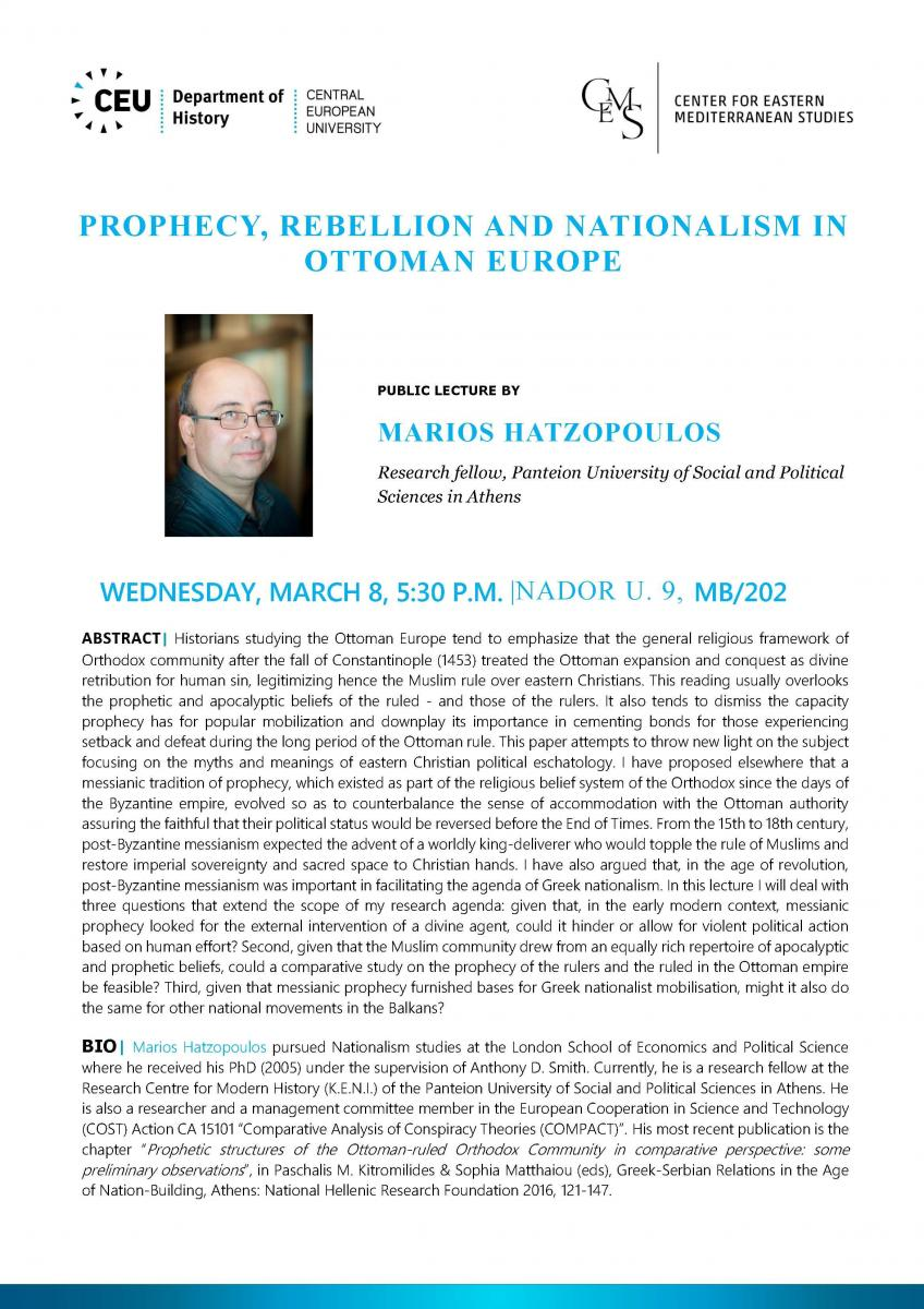 Prophecy Rebellion And Nationalism In Ottoman Europe Center For