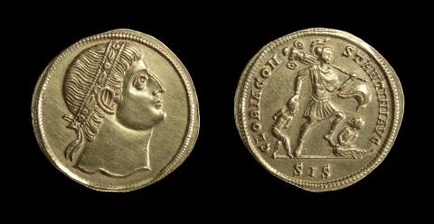Gold medallion showing Constantine the Great  at prayer, Roman, AD 306-337, minted in Siscia (Sisak, Croatia), courtesy of the Trustees of the British Museum